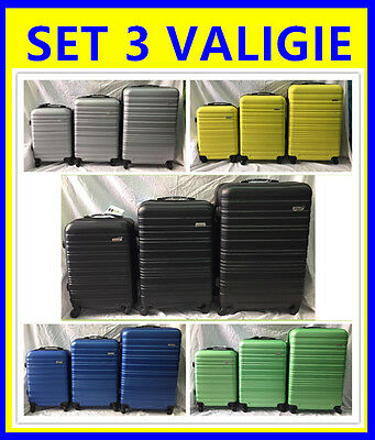 Set 3 Valigie Trolley   Rigide Ultraleggere In Abs 4 Ruote