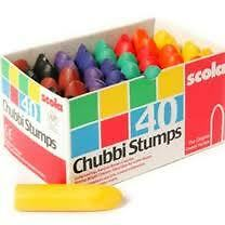 Scola Chubbi Chubby Stump Chunky Colouring Wax Crayons Assorted Box of 40 - AS40