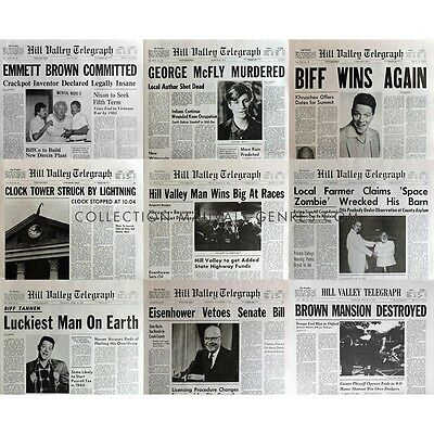 BACK TO THE FUTURE Lot of 11 Newspapers Prop Replicas - 100% Accurate ! BTTF