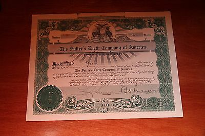 The Fuller Earth Company Of America 10 Shares  Stock Certificate 1912 Mi #134