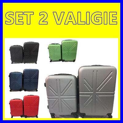 Set 2 Valigie Trolley Rigide In Abs Trolley Media E Bagaglio A Mano