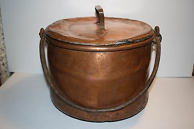 Antique Copper Kettle Apple Butter Pot with Lid Cover Hammered iron handle