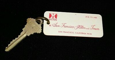 Vintage 1970's San Francisco CA Hilton Tower Union Square Hotel Room Key and Fob