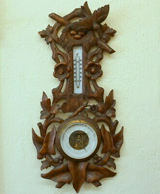 Antique Swiss Black Forest Carved THERMOMETER BAROMETER Bird Nest Butterfly 1890
