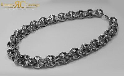 MASSIVE EXTRA HEAVY MEN'S 22 INCH Patterned  Belcher Chain Cast In 925 Silver
