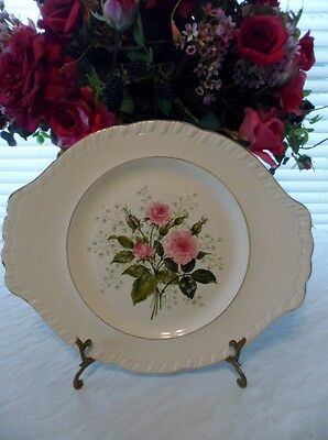 """PLATTER 13.75"""" Long-American Limoges China """"CATHY R2 ~ Pink Roses~22K Gold Trim"""