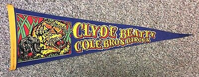"""Clyde Beatty Cole Brothers Circus Vintage Pennant 26"""""""