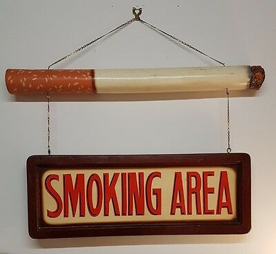 hand-painted wooden smoking sign