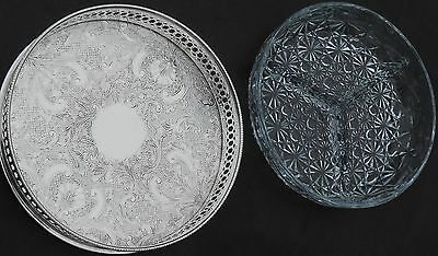 Elkington Chased Silver Plated Small Tray With Glass Crudites Liner - Vintage