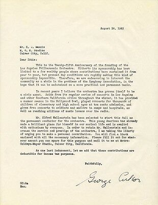 George D. Cukor - Typed Letter Signed 08/24/1943