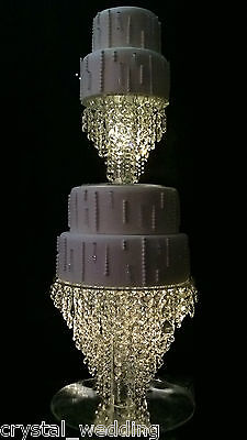 Chandelier cake stand  Crystal cake stand for wedding  set of 2  PLUS lights inc