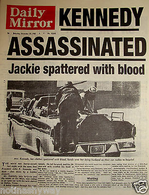 1963 John F Kennedy Assassinated Shot Dies Newspaper Jack 50 Years Ago Dr Who