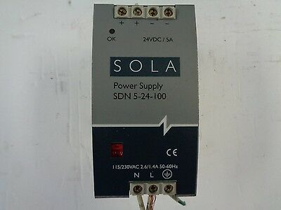 SOLA Power Supply SDN 5-24-100,  24vdc-5A, 115/230vac 2.6/1.4amp