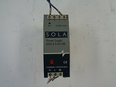 SOLA/HEVI-DUTY power supply, SDN 2.5-24-100, 24vdc/2.5A, 115/230vac 1.3/0.7A