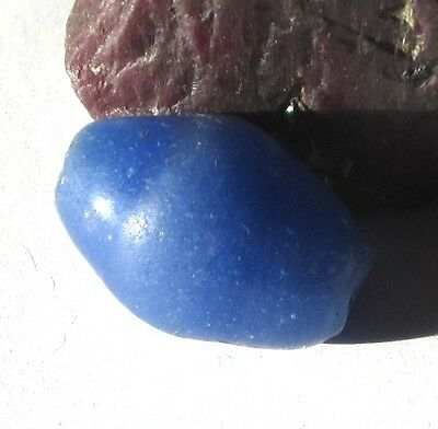 RARE LARGE AMAZING OLD BLUE OVAL DUTCH DOGON ANTIQUE BEAD 16mm x 22mm