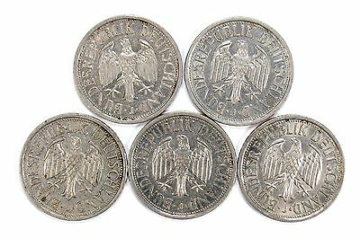 Lot of 5 1951 J Germany 2 Deutsche Mark Coins VF - AU KM 111 #102081 X R
