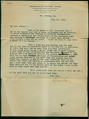 1922 Pennsylvania National Guard 28th Division Letter