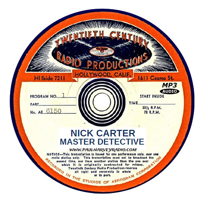 Nick Carter (131 Shows) Old Time Radio Mp3 2-Cd's