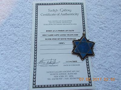 Holy Land Silver Star of David Pendant 1800's With Certificate of Authenticity