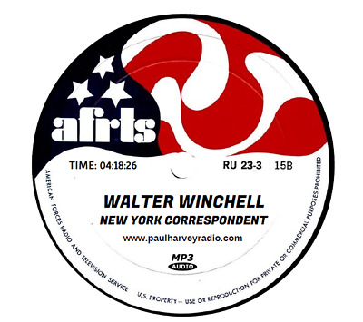 Walter Winchell, New York Correspondent (20 Shows) Old Time Radio Mp3 Cd