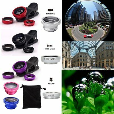 For iPhone Samsung Fish Eye Wide Angle Macro 3 in1 Camera Clip-on Lens Universal