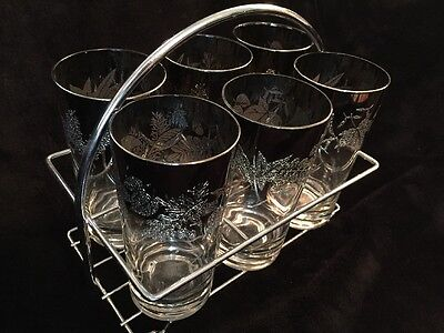 Set Of 6 Vintage Mid Century Modern Drinking Glasses With Metal Holder Frosted