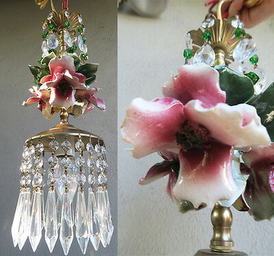 HIbiscus chandelier Swag vintage lamp Porcelain Capodimonte Beaded Rose Brass