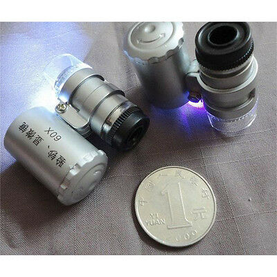 LED Mini 60X Jewelry Loupe Lighted Magnifier Microscope+Currency Detecting 7308