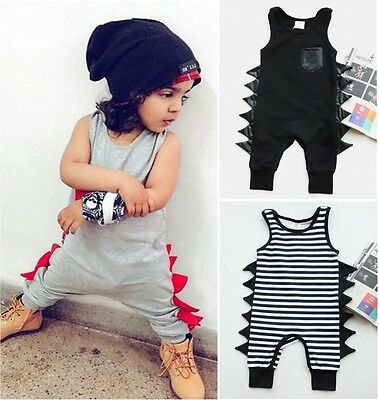 US Stock Newborn Kids Baby Boys Dinosaur Romper Jumpsuit Playsuit Clothes Summer