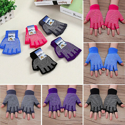 UK Yoga Fingerless Non Anti Slip Grip Sticky Gloves Sport Exercise Equipment