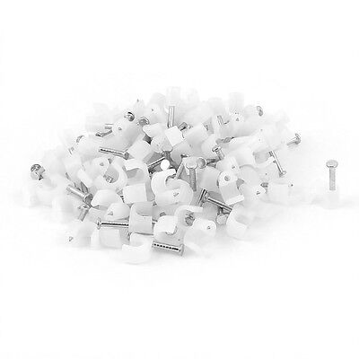 5mm Diameter Cable Wire Clips Fastener w Fixing Nails 100Pcs White Z4T9