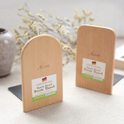 Simple Wood Japanese Style Nature Beech Wood Book Stand Bookends Book Ends Shelf