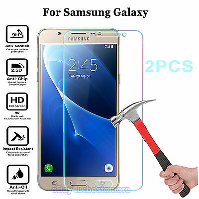 2PCS 9H Tempered Glass Screen Film Protector Cover For Samsung Phones Clear Thin