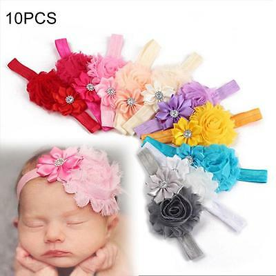 10PC  Girl Baby Toddler Infant Flower Headband Hair Bow Band Hair Accessories DC