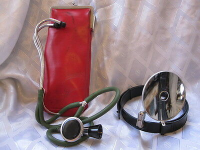 LOT OF VINTAGE MEDICAL DOCTOR SURGEON HEAD MIRROR REFLECTOR & STETHOSCOPE in BAG