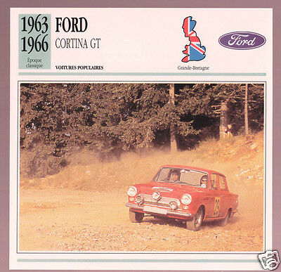 1963-1966 Ford Cortina GT Vic Elford Rally Race Car Photo Spec Sheet French Card