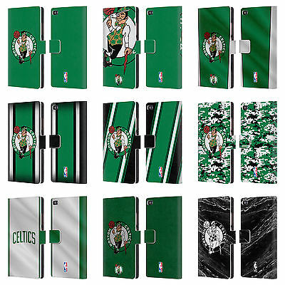 Official Nba Boston Celtics Leather Book Wallet Case Cover For Huawei Phones