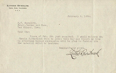 Luther Burbank - Typed Letter Signed 02/09/1924