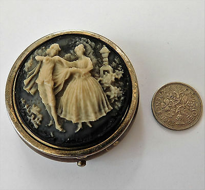 Vintage cameo pill box Dancing couple man and lady