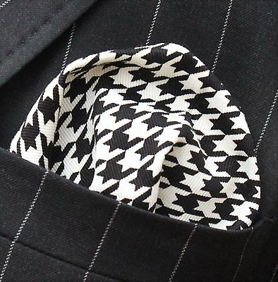 Hankie Pocket Square Handkerchief  Plaid Twill HOUNDSTOOTH Cotton UK Made