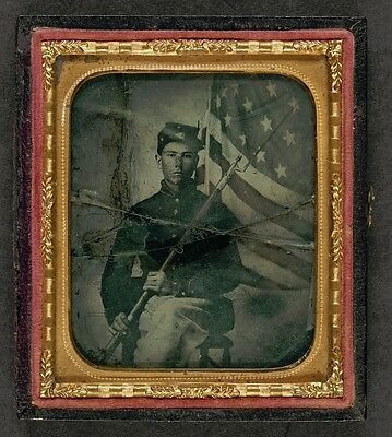 Photo Civil War Union Uniform With Bayoneted Musket In Front of American Flag