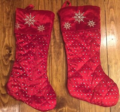 Lot Of 2 Red Christmas Stockings