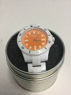 New White & Orange Identity London Colorful Strap Watch Gift Present Limited Edt