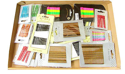 job lot of mixed hair grips/kirby grips all types 25 cards bulk deal