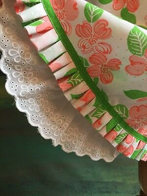 Vintage LILLY PULITZER The Lilly Pink Green Floral Skirt W/Eyelet Petticoat S