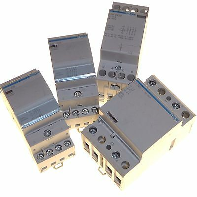4 x Hager contactors double and 4 pole 25 amp N/C and 40 amp N/O 230V coil
