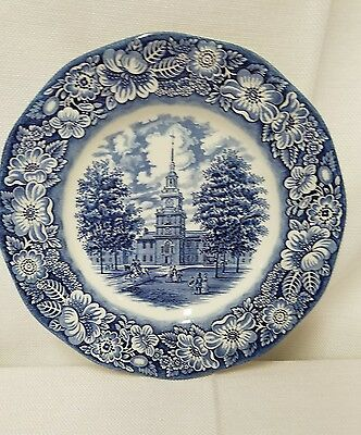 STAFFORDSHIRE Liberty Blue Historic Colonial Scenes Dinner Plate 10""
