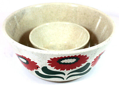 Vintage Waechtersbach Germany Set of 2 Bowls with Red Flower Pattern