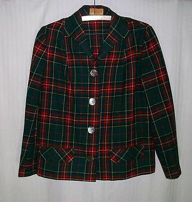 PENDLETON Vintage 1950's Unlined Green & Red Plaid Jacket Abalone Buttons FALL!