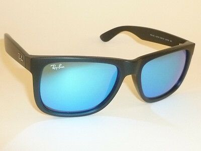 New RAY BAN Justin Sunglasses Matte Black Rubber RB 4165 622/55 Blue Mirror 54mm